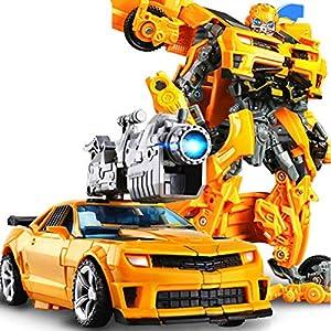 Robot Puede Cambiar La Forma del Coche Modelo Figura Alloy + ABS Figuras Anime Juguetes Bumblebee