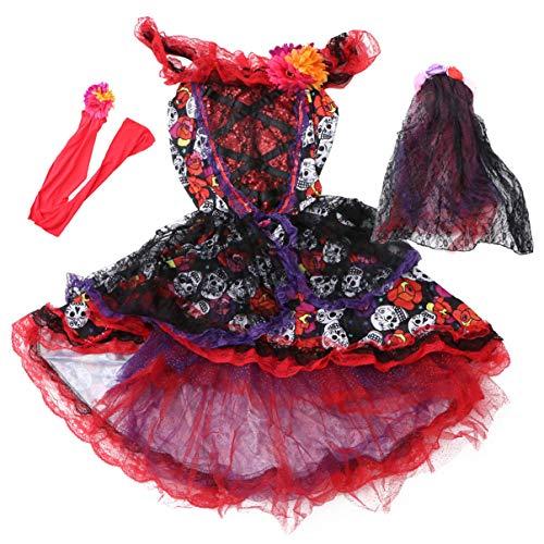 SOIMISS Dia de Los Muertos Disfraces de Halloween Novia Disfraz de Calavera de Azcar Vestido Falda Corona de Flores Mexicanas con Velo Cinturn Halloween Cosplay Accesorios S