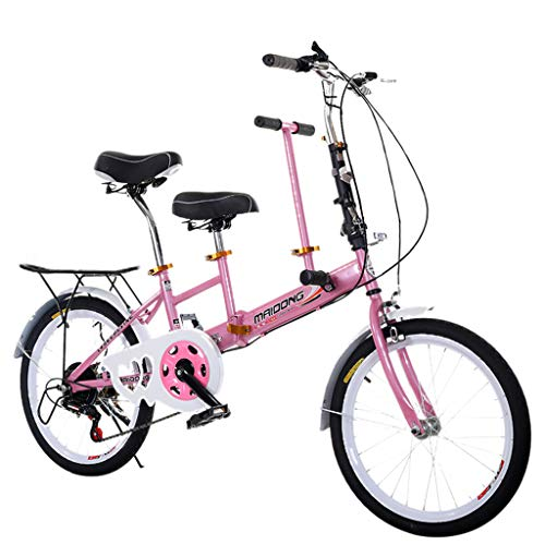 Liqiqi Tandem Klapprad Eltern-Fahrrad, variable Geschwindigkeit, für Strand, Meer, Reise, Urlaub (A-Rosa)