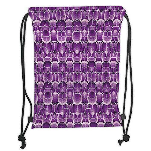 Fevthmii Drawstring Backpacks Bags,Retro,Vintage Trippy Pattern with Inner Circles and Squares Kitsch Ornamental Urban Style Dekoration, Lilac Purple Soft Satin,5 Liter Capacity,Adjustable S