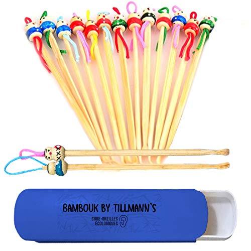 Cure Oreille Bambou de Tillmann's/Bambouk 15 Cure-Oreilles Ecologiques et Economiques livrés dans une boite de voyage/Aurevoir Coton-Tiges, Bonjour Oriculi Bambou