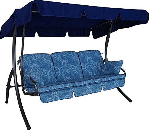 Angerer Comfort Hollywoodschaukel 3-Sitzer Design Santorin, blau, 210 x 145 x 160 cm, 1900/096/04
