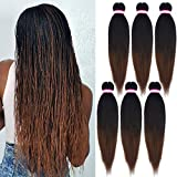 1. Pre-stretched Braiding Hair Extension Ombre Natural Black Brown Professional Crochet Braiding Hair 20 Inch 6 Packs Hot Water Setting Perm Yaki Synthetic Hair for Twist Braids (#1B/30)
