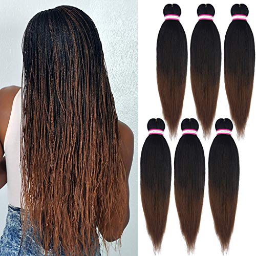 Pre-stretched Braiding Hair Extension Ombre Natural Black Brown Professional Crochet Braiding Hair 20 Inch 6 Packs Hot Water Setting Perm Yaki Synthetic Hair for Twist Braids (#1B/30)