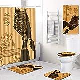 MWPO Juego de 5 alfombras de Cortinas de baño para Mujeres africanas Juego de Alfombrillas de baño Cortina de Ducha Impermeable - Alfombra de Pedestal - Funda de Asiento de Inodoro - Alfombra de