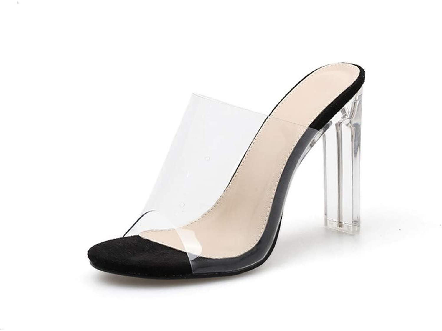 JQfashion Women's High-Heeled shoes Transparent PVC Sandals Muller Slippers