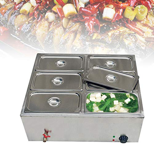 Bain Marie Electric Food Warmer, 850W 6-Pan Commercial Countertop Steamer Stainless Steel Bain Marie Steam Table Steamer for Catering and Restaurants US Stock
