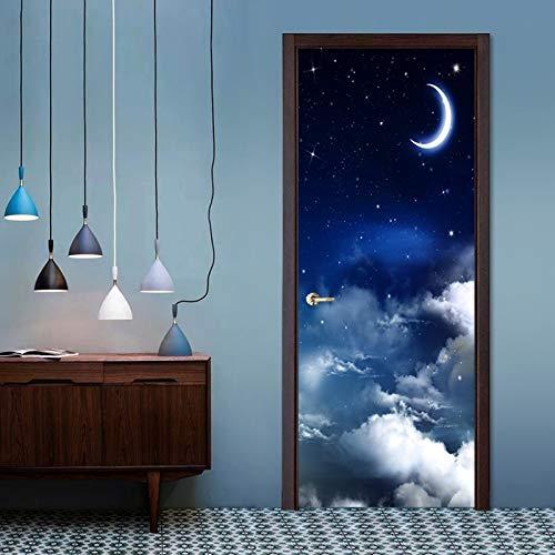 weichuang Papel pintado 3D moderno y sencillo cielo estrellado para dormitorio infantil y sala de estar, vinilo autoadhesivo para puerta (95 x 215 cm)