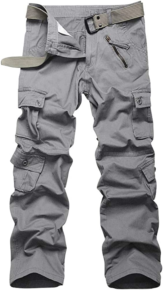 Men's Hiking Cargo Work Pants, 8 Pockets, Relax Fit Casual Military Army Combat Tactical Trousers Light Grey 29