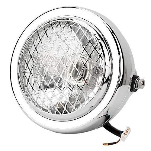 Qiilu 12V Motorfiets koplamp, Retro Mesh Grill Guard koplamp voor Chopper Bobber(zilver)