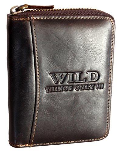 WILD THINGS ONLY !!! Herren Geldbörse aus Echt-Leder mit umlaufendem Reißverschluss mit RFID Schutz