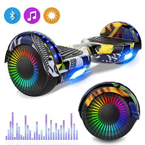 RCB Self Balance Scooter 6,5 Zoll selbstausgleichender Roller mit Bluetooth LED Flash Elektroroller mit leistungsstarkem Motor blinkt Segway Neues Modell Spielzeug und Geschenk für Kinder