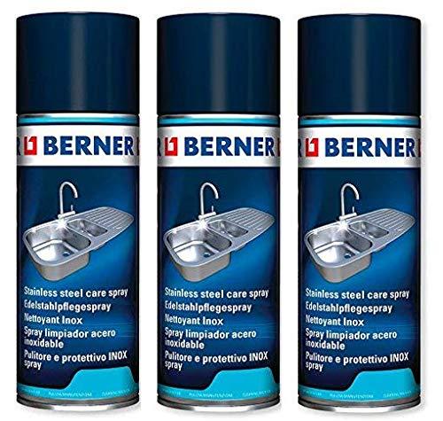 3 x Berner Edelstahl-Pflege Spray INOX (3 x 400ml) *****3 x Speziall Reinigunger für Alles aus Edelstahl*****