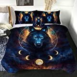 Sleepwish Dream Catcher by JoJoesArt Wolf Lunar Eclipse Twin Comforter Set with 2 Pillow Shams 1 Cushion Cover 4 Pieces Reversible Comforter Soft and Comfortable Machine Washable