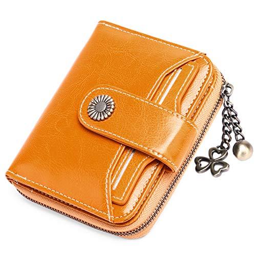 SENDEFN Geldbörse Damen Klein,Geldbeutel Frauen Echtes Leder,mit Münzfach Kleines Zipper Brieftasche Kartenhalter mit RFID Blocker