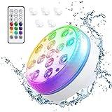 Wandskllss Luz LED sumergible, iluminación LED para piscina con USB recargable / control remoto /RGB 16 multicolores, luces para piscina, luces magnéticas para bañera, LED de spa para jardín y acuario