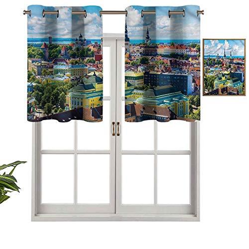 Hiiiman Cortinas pequeñas para ventana, decoración del hogar, ciudad, Tallin, Estonia, juego de 1, 91,4 x 45,7 cm para cocina, comedor, habitación de niñas, filtro de luz