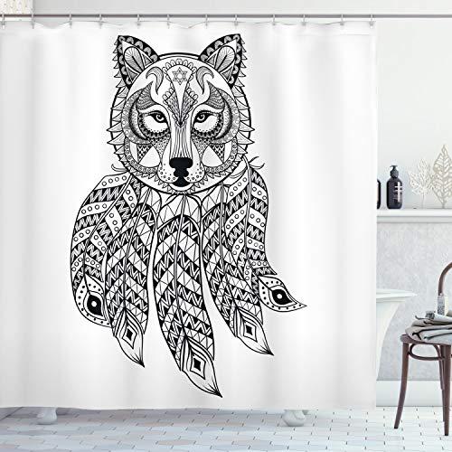 ABAKUHAUS Tribal Cortina de Baño, América nativa Cabeza del Lobo, Material Resistente al Agua Durable Estampa Digital, 175 x 220 cm, En Blanco y Negro