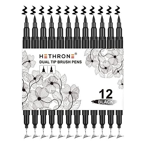 Hethrone Black Felt Tip Pens - 12 Set, Brush & Fine Tip Black Marker for Art Drawing