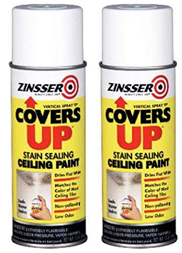 Zinnser 03688 Covers Up Stain Sealing Ceiling Paint, White (Тwo Рack)