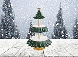 Be Merry Snack Bowl Stand Stand Albero di Natale Snack Rack Snack Stand di Natale Snack Server A Livelli di Dessert Stand Frutta Piatti per Natale Decorazioni Festa (A)