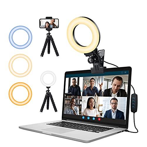 Ringlicht Laptop,Videokonferenz Licht mit Handy Stativ & Clip,FGen Streaming Licht mit 3 Farbe Modi 10 Helligkeitsstufen Webcam Licht für Selfie, Fernarbeit, Video, Live, YouTube, Make-up