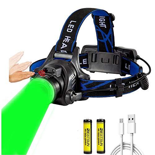 Torcia frontale a luce verde, la più luminosa lampada da caccia verde da 800 lumen con induzione a LED, zoomable 3 modalità, lampada frontale impermeabile per la notte Coyote Hog Varmint Predator