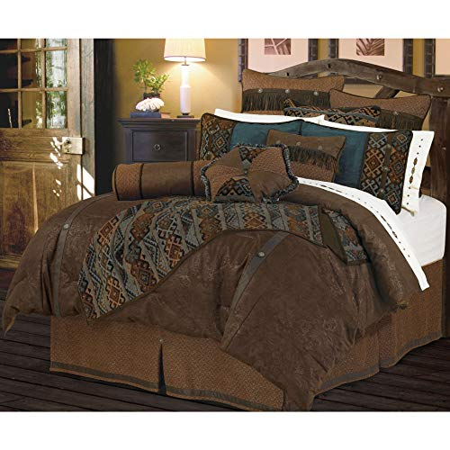 HiEnd Accents Del Rio Tooled Faux Leather Comforter Set, Queen, Blue & Brown 5 PC