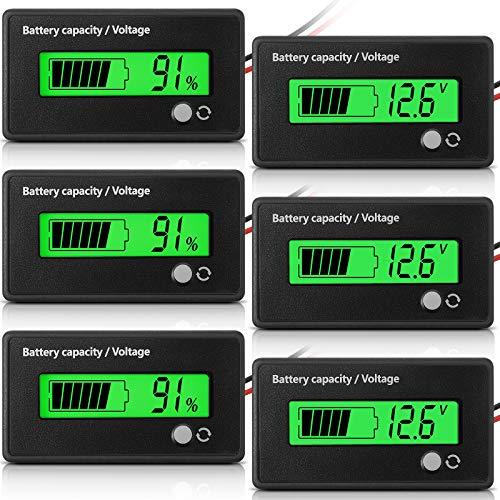 3 Stücke LCD Batterie Kapazität Monitor Batterie Kapazität Stromspannung Indikatoren Auto Motorrad Batterie Tester Batterie Meter mit Alarm für Golf Wagen RV Marineboots Auto (Grün)