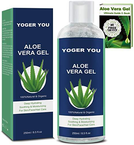 Aloe Vera Puro Gel 100% Organic Crema Aloe Vera 100 Puro Gel de Aloe Vera 100 Natural Pura de Crema Hidratante con Ácido Hialurónico para Pieles Secas Quemadas Por el Sol Regalos Originales para Mujer