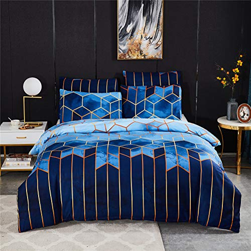USTIDE Duvet Cover Soft Quilt Cover Girls Boys Blue Grid Quilt Cover Quilt Cover Breathable Comforter Cover with Pillowcase Single Size Bedding Set