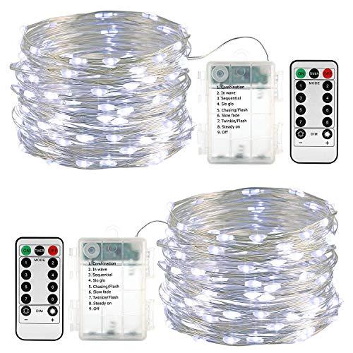 Qedertek Lichterkette außen Batterie, 2 Stück 100 LED Lichterkette Wasserdicht, 10M Lichterkette Weihnachtsbaum Weiß, Lichterketten mit Fernbedienung für Außen und Innen, Garten, Hochzeit