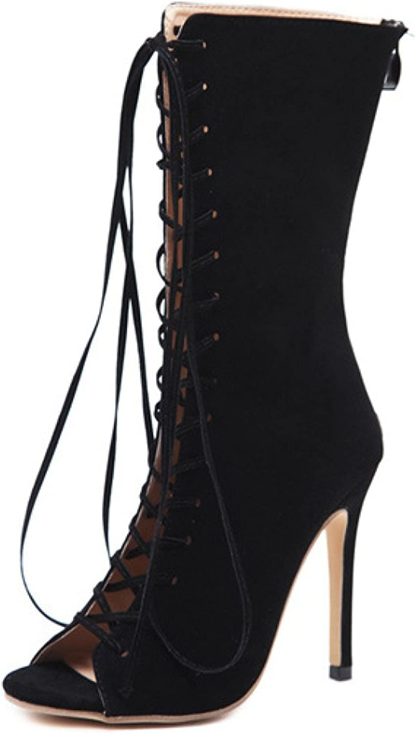 Women's Boots Lace UP High Heels Stiletto Open Toe Sandals Wedding Party Dress shoes,Black-EU 37=6.5B(M) US