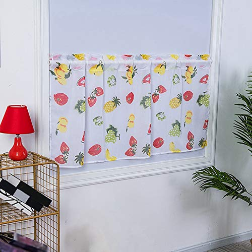 Cortinas cortas de cocina Medias cortinas Patrones de frutas lindas Cortina transparente impresa para cocina Cenefa de ventana corta de estilo vintage 100x50cm