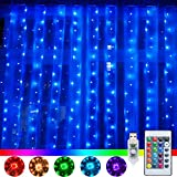 Ollny 240 LED Curtain String Lights 16 Colors Changing USB Powered Multi Color Twinkle Window Fairy Lights with Remote Control for Bedroom Wedding Party Home Garden Bedroom Indoor Wall Decorations
