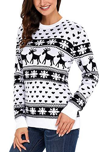 YACUN Donne Maglione di Natale A Renne Pullover Jumper Black S