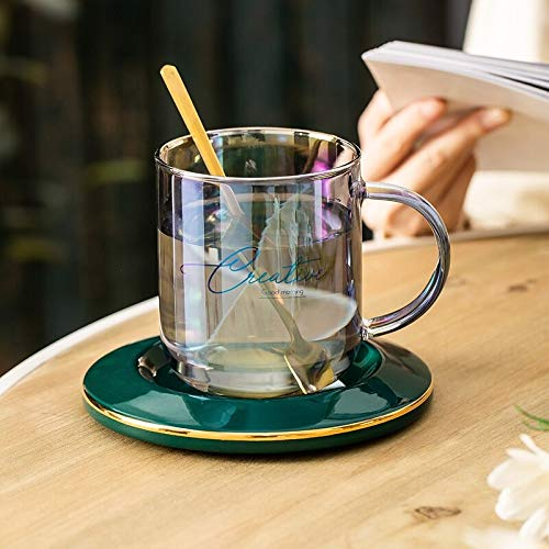 NUCA Creative Colorful Glass Coffee Mug Wine Cocktail Whiskey Glass Tea Cup and Saucer Sets Transparent Shot Glasses Tumbler Cups