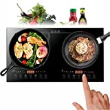 Double Induction Cooktop, Portable Induction Cooktop Electric Dual Induction Cooker Cooktop Digital Ceramic Black Crystal Panel Countertop Double Burner Safety 8 Gear Firepower 2400w(1200w+1200w) 110V