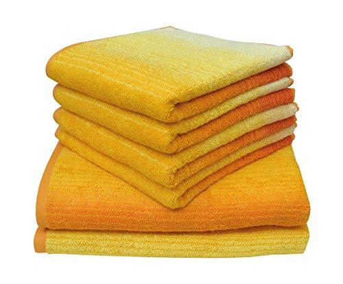 Dyckhoff 0768596400 Handtuchset, Duschtücher 70x140 cm, 4 Handtücher 50x100 cm, 6-teilig, gelb