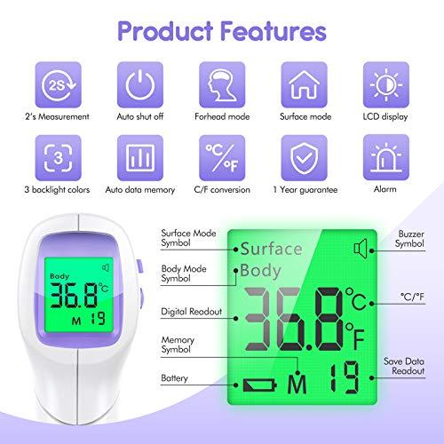 KKmier Termometro Febbre Infrarossi, Termometro Frontale Professionale Senza Contatto con Letture istantanee Accurate, Termometro Digitale Adatto per Neonati, Bambini, Adulti