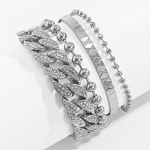 4 Unids/Set Brillante De Diamantes De Imitación Ajustable Cadena Brazalete Pulsera Joyería para Mujeres Multicapa Bolas Brazalete Cadena Encanto Pulsera-Color Plata