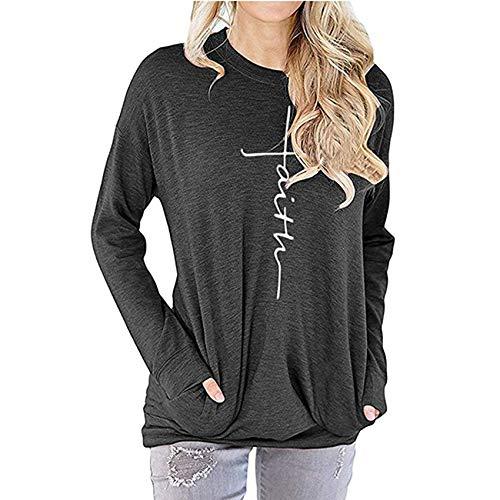 Herbst/Winter Damen Sweatshirt Faith Letter Print Rundhalsausschnitt Langarm T-Shirt