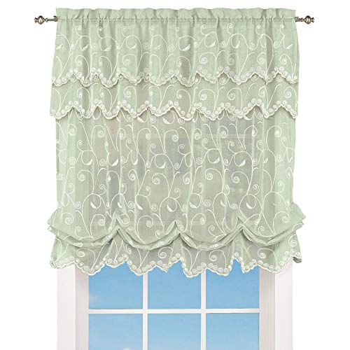 """Collections Etc Sheer Balloon Curtain Shade with Scroll Pattern & Rod Pocket Top, 63"""" L x 54"""" W, Sage, 54"""" X 63"""""""