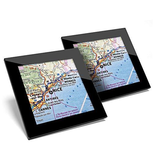 Juego de 2 posavasos de cristal, diseño de mapa de viaje francés de la ciudad de Niza Francia con mapa de viaje brillante de calidad / protección de mesa para cualquier tipo de mesa #45872