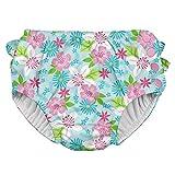 Green Sprouts 711060-6300-43 - Pañal para nadar, niñas, Light Aqua Paradise Flower, 12mo (6-12 meses)