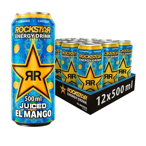 Rockstar Baja Juiced Energy Drink El Mango – Exotisches, koffeinhaltiges Erfrischungsgetränk mit Mango Geschmack für den Energie Kick – 12 x 0,5l