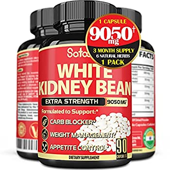 Pure White Kidney Bean Carb Blocker Extract Capsules - 6 Herbal Ingredients 9050 mg Equivalent - Support Starch - 90 Vegan Capsules for 3 Months