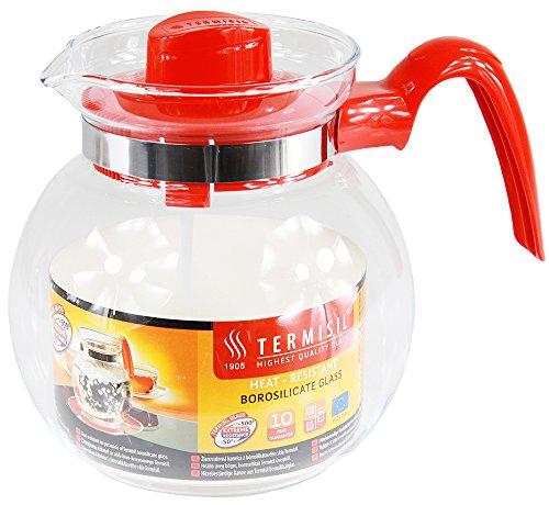 Termisil Teekanne Teebereiter Glaskanne Saftkrug Wasserkrug Bistro Krug (1,5 Liter, Rot)
