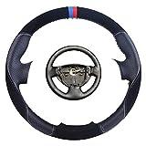 Wongzt Cubierta de Volante de Coche Personalizada, para Renault Logan 1 Sandero 1 Clio 2 Lada Largus 1 Nissan Almera 3 Trenza de dirección automática de Cuero