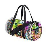 HARXISE Perro Lindo Pintura Colorida Artístico Cachorro Tema,Bolsa de equipaje de viaje Deporte Lienzo ligero Equipaje de fitness Bolso de tambor Desmontable